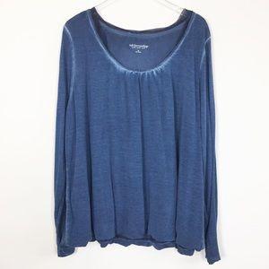 Soft Surroundings blue mesh long sleeve top 3X